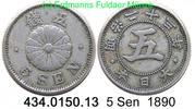 5 Sen 1890 Japan KMY19 Meiji Chrysanteme . 434.0150.13  ss+  29,75 EUR