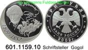 3 Rubel 2009 Russland Gogol Schriftsteller . 601.1159.10 PP  52,00 EUR  zzgl. 6,50 EUR Versand