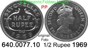 1/2 Rupee 1969 Seychellen *15 KM12  Elisabeth II. PP  4,50 EUR  zzgl. 4,75 EUR Versand