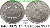 1/2 Rupee 1971 Seychellen *15 KM12  Elisabeth II. unc  4,50 EUR  zzgl. 4,75 EUR Versand
