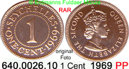 1 Cent 1969 Seychellen *10 KM14  Elisabeth II. RAR PP  23,25 EUR  zzgl. 4,75 EUR Versand