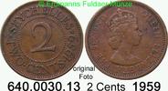 2 Cents 1959 Seychellen *11 KM15 Elisabeth II. knapp ss  3,00 EUR  zzgl. 4,75 EUR Versand