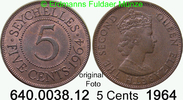 5 Cents 1964 Seychellen *12 KM16  Elisabeth II. vz  11,00 EUR  zzgl. 4,75 EUR Versand
