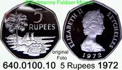 5 Rupees 1972 Seychellen *19a KM19a Elisabeth II. nur 2.500 Ex PP lose  55,00 EUR  zzgl. 6,50 EUR Versand