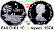 5 Rupees 1974 Seychellen *19a KM19a  Elisabth II. Pp lose  49,75 EUR  zzgl. 4,75 EUR Versand