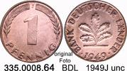 1 Pfennig 1949J Deutschland BDL Bank Deutscher Länder J.376 unc  5,00 EUR  zzgl. 4,75 EUR Versand