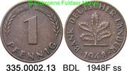1 Pfennig 1948F Deutschland BDL Bank Deutscher Länder J.376 ss  1,00 EUR  zzgl. 4,75 EUR Versand