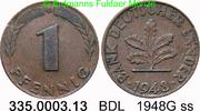1 Pfennig 1948G Deutschland BDL Bank Deutscher Länder J.376 ss  2,50 EUR  zzgl. 4,75 EUR Versand