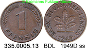 1 Pfennig 1949D Deutschland BDL Bank Deutscher Länder J.376 ss  0,75 EUR  zzgl. 4,75 EUR Versand