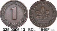 1 Pfennig 1949F Deutschland BDL Bank Deutscher Ländr J.376 ss  2,25 EUR  zzgl. 4,75 EUR Versand