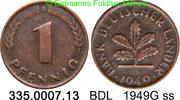 1 Pfennig 1949G Deutschland BDL Bank Deutscher Länder J.376 ss  1,25 EUR  zzgl. 4,75 EUR Versand