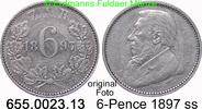 6 Pence 1897 Südafrika *4 KM4 Ohm Krüger ss  15,00 EUR  zzgl. 4,75 EUR Versand