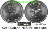 50 Pruta 1954 Israel *8a KM13.2a Rand glatt unc  5,00 EUR  zzgl. 4,75 EUR Versand
