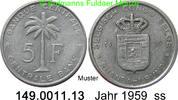 5 Francs 1959 Belgisch Kongo Ruanda Urundi *33 KM3 Palme SS  3,75 EUR  zzgl. 4,75 EUR Versand