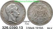 3 Mark 1910 A Preußen J. 103 Wilhelmm II. ss-v  12,75 EUR inkl. gesetzl. MwSt., zzgl. 4,75 EUR Versand