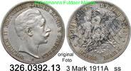 3 Mark 1911 A Preußen J. 103 Wilhelm II. ss  15,00 EUR inkl. gesetzl. MwSt., zzgl. 4,75 EUR Versand