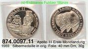 1969 Medaillen nach 1950  . 1.Mondlandung, Apollo 11 . 874.0097.11. PL  39,00 EUR  zzgl. 4,75 EUR Versand