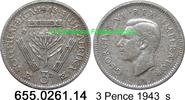 3 Pence 1943 Südafrika South Africa *38 KM26 s  1,50 EUR  zzgl. 4,75 EUR Versand