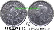 6 Pence 1940 Südafrika South Africa *39 KM27 ss  4,25 EUR  zzgl. 4,75 EUR Versand