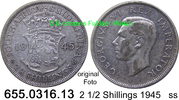 2 1/2 Shillings 1945 Südafrika South Africa *42 KM30 ss  15,00 EUR  zzgl. 4,75 EUR Versand