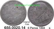 6 Pence 1894 Südafrika South Africa *4 KM4 s  39,75 EUR  zzgl. 4,75 EUR Versand