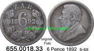 6 Pence 1892 Südafrika South Africa *4 KM4 s-ss  79,75 EUR  zzgl. 6,50 EUR Versand