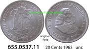 20 Cents 1963 Südafrika Republik *80 KM61 unc  9,00 EUR  zzgl. 4,75 EUR Versand