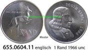 1 Rand 1966 Südafrika Republik *92 KM71.1 englisch v-unc  8,75 EUR  zzgl. 4,75 EUR Versand