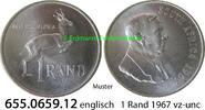1 Rand 1967 Südafrika Republik *100 KM72.1  englisch v-unc  12,00 EUR  zzgl. 4,75 EUR Versand
