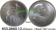 1 Rand 1967 Südafrika Republik *101 KM72.2 afrikaans = Suid v-unc  12,00 EUR  zzgl. 4,75 EUR Versand