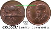 2 Cents 1968 Südafrika Republik *107 KM75.1 englisch vz  5,00 EUR  zzgl. 4,75 EUR Versand