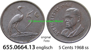 5 Cents 1968 Südafrika Republik *108 KM76.1 englisch ss  5,00 EUR  zzgl. 4,75 EUR Versand