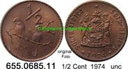 1/2 Cent 1974 Südafrika Republik *120 KM81 Sperlinge unc  0,80 EUR  zzgl. 4,75 EUR Versand