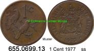1 Cent 1977 Südafrika Republik *121.1 KM82  mit T.S. ss  0,50 EUR  zzgl. 4,75 EUR Versand