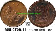 1 Cent 1989 Südafrika Republik *121.3 KM82  mit ALS unc  4,25 EUR  zzgl. 4,75 EUR Versand
