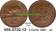 2 Cents 1980 Südafrika Republik *122 KM83 ss  1,50 EUR  zzgl. 4,75 EUR Versand
