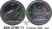 5 Cents 1989 Südafrika Republik *123 KM84 unc  4,25 EUR  zzgl. 4,75 EUR Versand