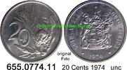 20 Cents 1974 Südafrika Republik *125 KM86 unc  1,50 EUR  zzgl. 4,75 EUR Versand