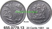 20 Cents 1981 Südafrika Republik *125 KM86 ss  0,95 EUR  zzgl. 4,75 EUR Versand