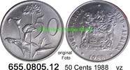 50 Cents 1988 Südafrika Republik *126 KM87 vz  0,95 EUR  zzgl. 4,75 EUR Versand