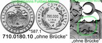 750.000 Lira 1996 Turkey Türkei *587.1 KM1046 ECU ohne Brücke RAR PP  95,00 EUR  zzgl. 6,50 EUR Versand