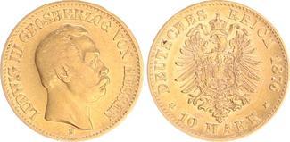 10 Mark Gold 1876 H Hessen Hessen 10 Mark Gold 1876 H, ss-vz