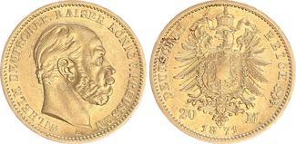 20 Mark Gold 1871 A Preußen Preußen 20 Mark 1871A Wilhelm I. J.243  seltenes Jahr ss-vz