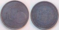 Monaco 1 Cent Fehlprägung ohne Kupferplattierun Monaco, 1 Cent 2001 Fehlprägung auf unplattierter Stahlronde, 2,1g, vz