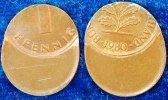 Deutschland 1 Pfennig 1980 60% dezentriert BRD 1 Pfennig 1980 Fehlprägung: 60% dezentriert vz-prfr.