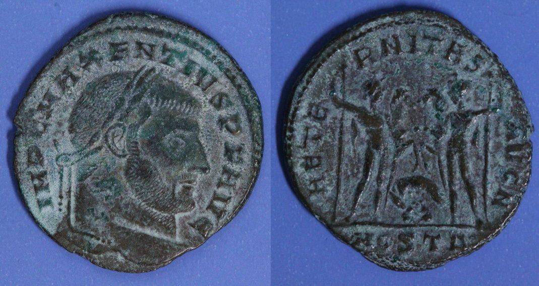 Follis Rom Maxentius (306-312) - Aeternitas Aug mit Wölfin - Ostia f.ss/min.Rf./l.Pat.