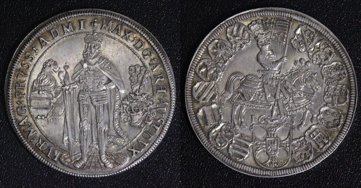 Taler 1603 Deutscher Orden Maximilian I., Erzherzog von Österreich - außergewöhnliche Erhaltung f.st/ attraktive Tönung