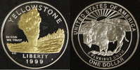 1 Dollar 1999 USA Yellowstone National-Park PP, teilvergoldet  30,00 EUR  zzgl. 5,00 EUR Versand