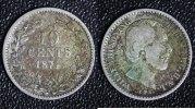 10 Cents 1874 Niederlande Willem III. - selten s-ss  60,00 EUR  zzgl. 5,00 EUR Versand