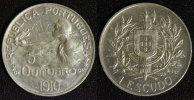 1 Escudo 1910 Portugal Geburtstunde der Republik - 05. Oktober ss+  90,00 EUR  +  10,00 EUR shipping